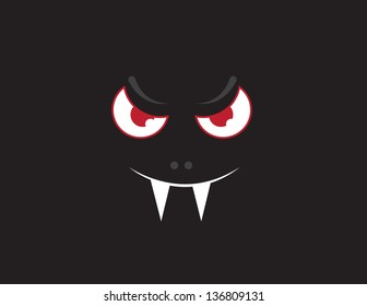 Floating vampire bat face in the dark