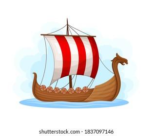 Floating Wooden Viking Ship as Water Transport Vector Illustration