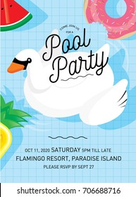 floats summer pool party invitation card template vector/illustration