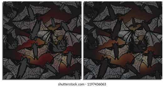 A flock of bats flying in the dark night lit by lights from the celebration of Halloween. These mouse bloodsuckers have terrible fangs, translucent wings and unkind intentions.