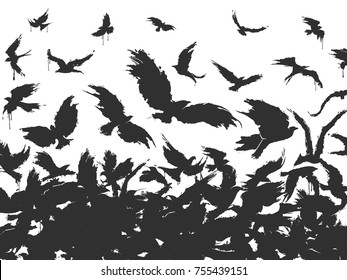 flock of birds in black on a white background
