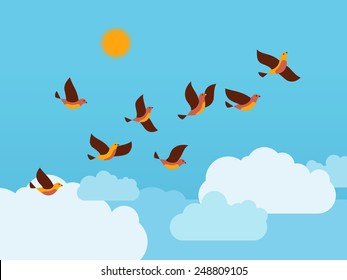 Flock of birds flying in the sky with clouds and sun. Vector illustration.