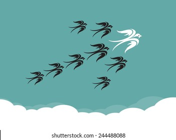 Flock of birds(swallow) flying in the sky, Leadership concept