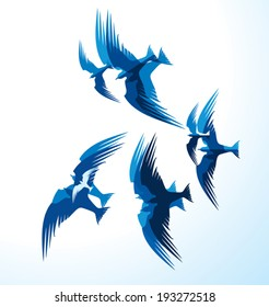 Flock of blue birds.