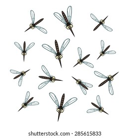 A flock of cartoon mosquito isolated on the white background.
