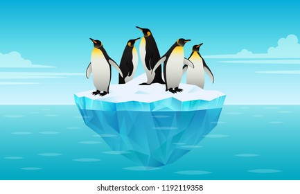 Flock of emperor penguins on ice floe in cold water. Glacier, ice brick floating in cold sea. Tallest and heaviest penguin species. Antarctic landscapes. Vector illustration in flat style.