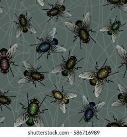 Flock of flies. Seamless pattern of flies.