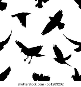 A flock of flying birds. seamless background. Vector