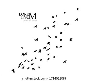 A flock of flying birds silhouette. Vector illustration