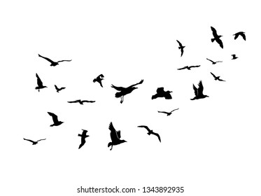 A Flock of Flying Birds. Vector Illustration. Isolated On Blue Background.