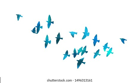 A flock of flying blue birds. Vector illustration