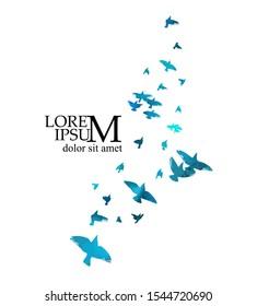 A flock of flying blue birds. Vector illustration