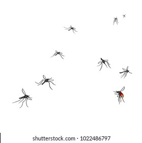 A flock of flying mosquitoes. Drunk blood and hungry mosquitoes. Silhouette, graphic image. Vector, isolated on white background