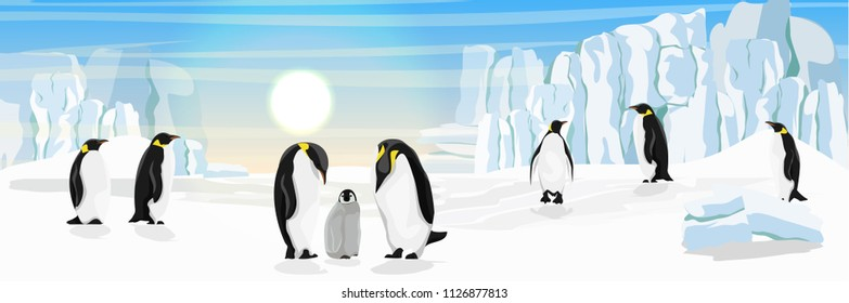 A flock of realistic imperial penguins. Penguins are parents and their chick. The glacier and the snow-covered plain. Landscapes of the Antarctic.