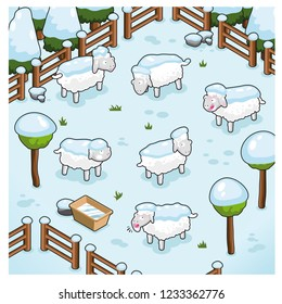 Flock of sheep in deep winter, covered in snow (vector illustration)