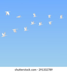 flock of snow geese flying in the blue sky freehand drawing wildlife animals vector