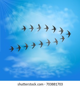 Flock of swallows in blue sky with clouds. Birds migration. Vector illustration