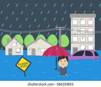 Flood at city flat vector illustration