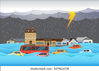 flood disaster, City flooded , Clouds and rainstorms ,vector illustration