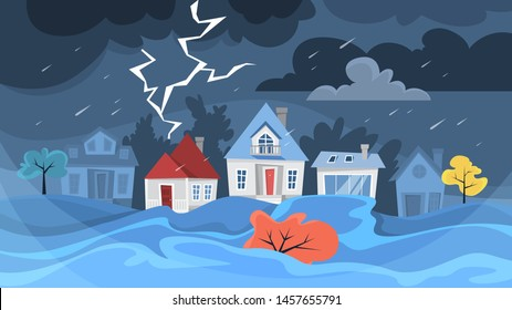 Flood disaster concept. Storm in the city, natural disaster. Water on the street, heavy rain. Building in town underwater. Vector illustration in cartoon style