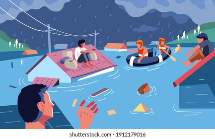 Flood disaster evacuation by rescue workers, people sit on the roof of house to save themselves from the flood. used for info graphic and other