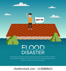 Flood disaster with human and help me banner on roof of the house vector design