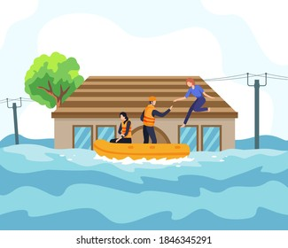 Flood disaster illustration concept. Rescuer helped people by boat from sinking house and through flooded road. People saved from flooded area or town, natural disaster concept. Vector in a flat style