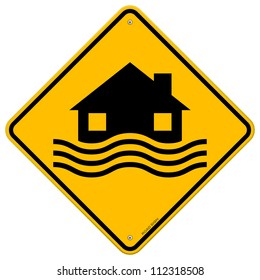Flood Disaster Yellow Sign - House and waves on yellow sign isolated on white background