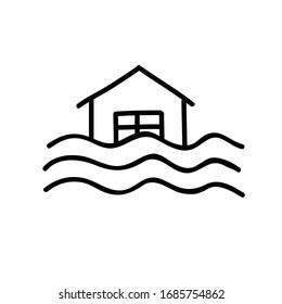 flood doodle icon, vector illustration