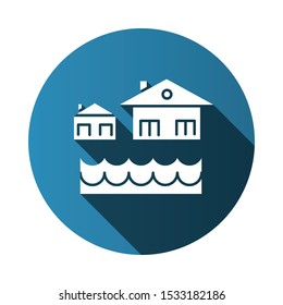 Flood flat design long shadow glyph icon. Overflow of water. Sinking house. Submerged building. Flooding locality. Sea level rise. Natural disaster. Vector silhouette illustration
