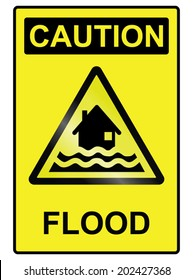 Flood hazard warning information sign isolated on white background