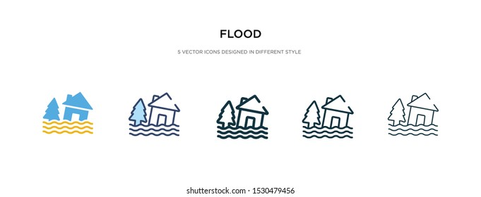flood icon in different style vector illustration. two colored and black flood vector icons designed in filled, outline, line and stroke style can be used for web, mobile, ui