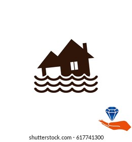 Flood icon. disaster. Typhoon. Tornado. The house is in the water. City water, vector illustration. Flat design style.