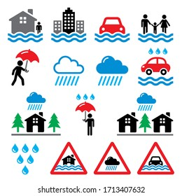 Flood, natural disaster, heavy rain icons set - climate change, ecology environment, natural disaster concept.   Nature vector icons - flood, danger isolated on white