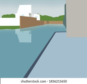 Flood natural disaster with house, damage with home, flooding water in city. Building in town underwater.