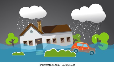 Flood natural disaster with house, heavy rain and storm , damage with home, clouds and rain, flooding water in city, Flooded house,falling tree