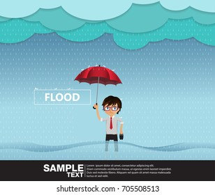 A flood rainy season, Man standing holding an umbrella in water.Vector Illustration