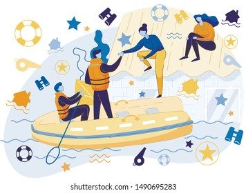 Flood Rescuers Sitting in Inflatable Boat Saving People from Water Taking off Roof Flat Cartoon Vector Illustration. Family Members Rescued from Flooded House Building. People and Natural disaster.