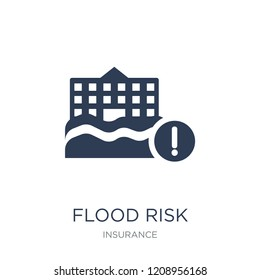 Flood risk icon. Trendy flat vector Flood risk icon on white background from Insurance collection, vector illustration can be use for web and mobile, eps10