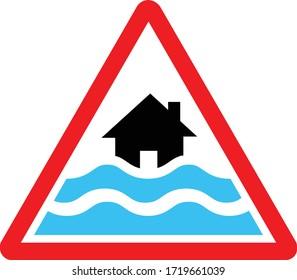 flood road sign, red, bule and black color, vector illustration