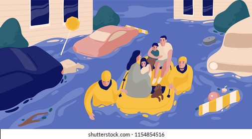 Flood survivors sitting in inflatable boat rescued by pair of rescuers. Family saved from flooded area or town. People and natural disaster. Colorful vector illustration in flat cartoon style
