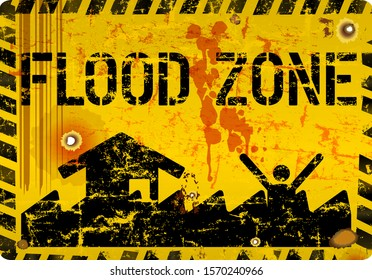 flood zone warning sign,climate change, inundation, flooding  concept, vector illustration