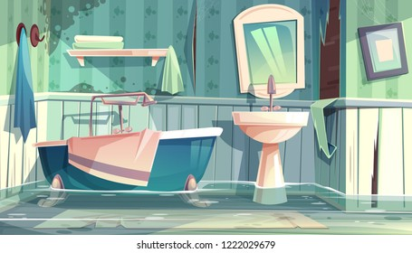 Flooded bathroom in old apartments or house cartoon vector illustration with vintage bathtub, shabby, dirty walls and water on floor. Worn out plumbing in antique home, bad tenant or rental concept