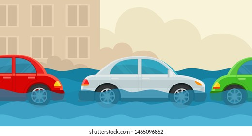 Flooded cars stand along the road. Unforeseen situation. Car accident insurance, force majeure. Vector illustration flat design, cartoon style. Isolated on white background. Side view.