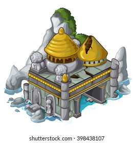 Flooded ruined temple. The ancient architecture. Vector illustration.