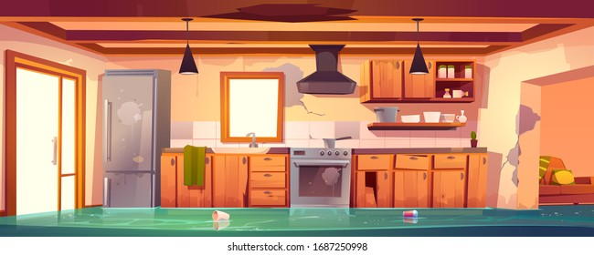 Flooded rustic kitchen, abandoned empty interior with broken wooden furniture and cracked walls and dirty stuff table, oven, range hood, fridge decrepit cooking equipment, Cartoon vector illustration