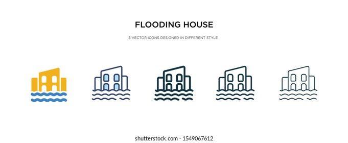 flooding house icon in different style vector illustration. two colored and black flooding house vector icons designed in filled, outline, line and stroke style can be used for web, mobile, ui