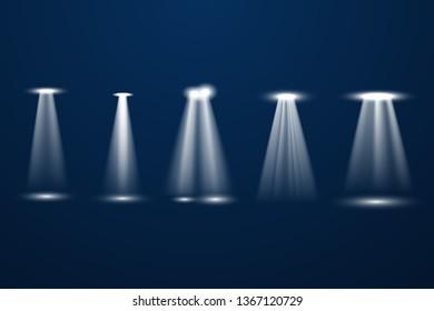 Floodlight. Bright lighting with spotlights.  Light spotlight stage beam, spot lamp projection studio lights beam Vector illustration EPS10