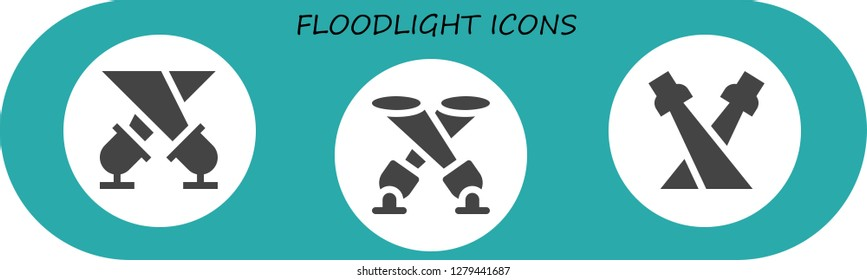 floodlight icon set. 3 filled floodlight icons. Simple modern icons about  - Spotlight