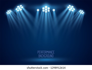 Floodlight, light projectors vector set before the evening show on the scene. Presentation, concert banner. Night entertainment event, premiere poster. Club illumination for party, sport performance.